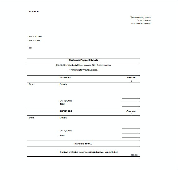 Contractor Invoice templates Free Word