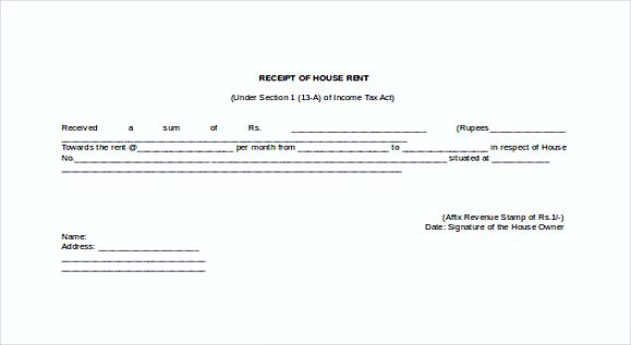 Doc Format Receipt Of House Rent Free templates