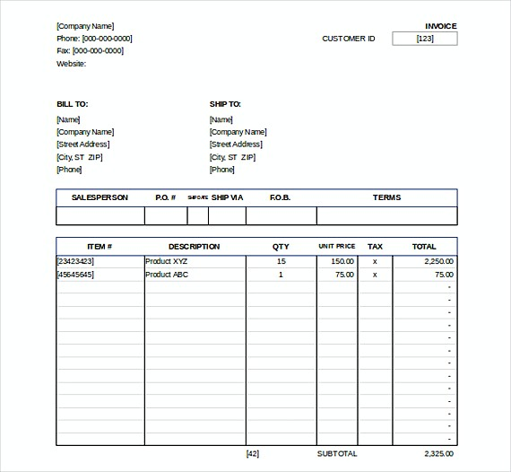 Downlodable Sales Invoice templates