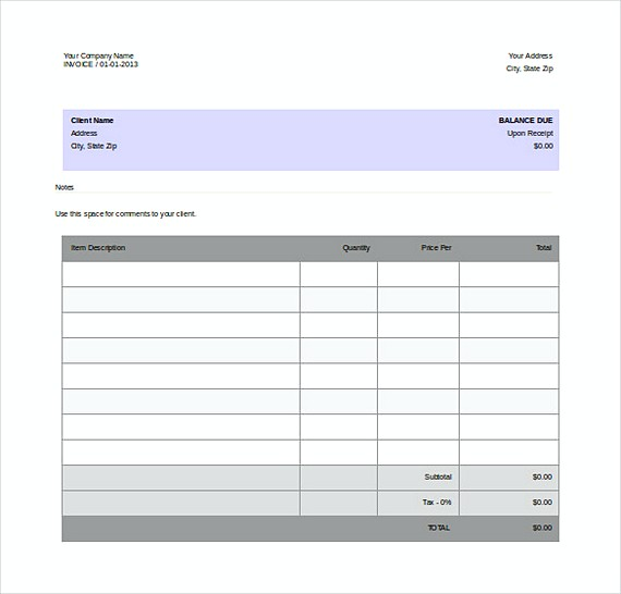 Free Company Invoice Word Format templates