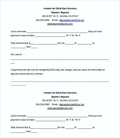 Free Printable Childcare Service Invoice templates