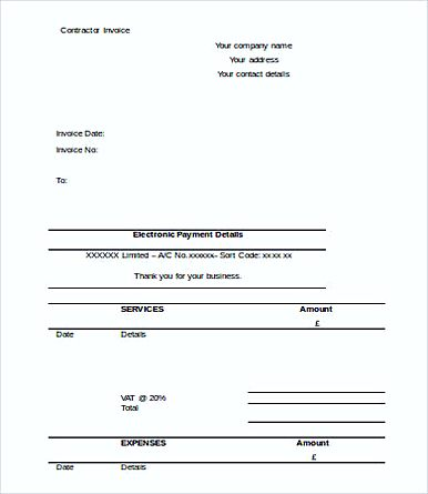 Free Printable Contractor Invoice templates