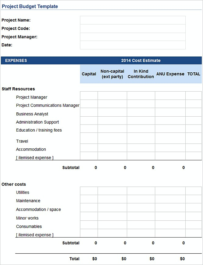 project budget template excel