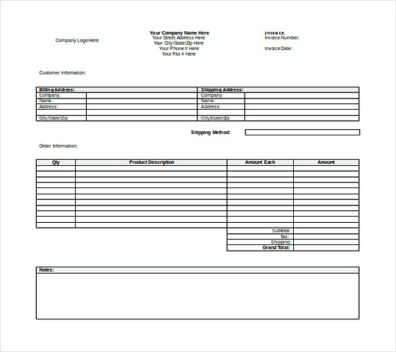 Free Word Invoice templates