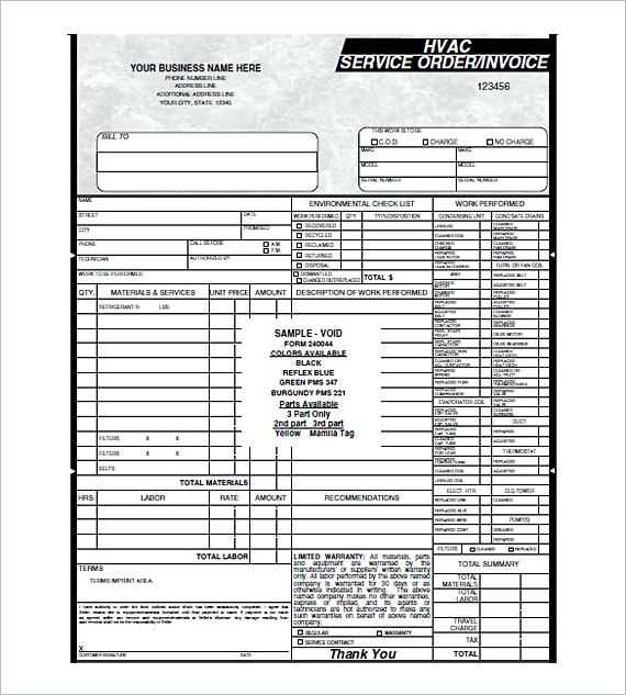 HVAC Service order invoice templates