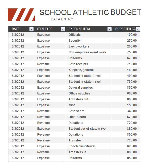 High School Athletic Budget Free