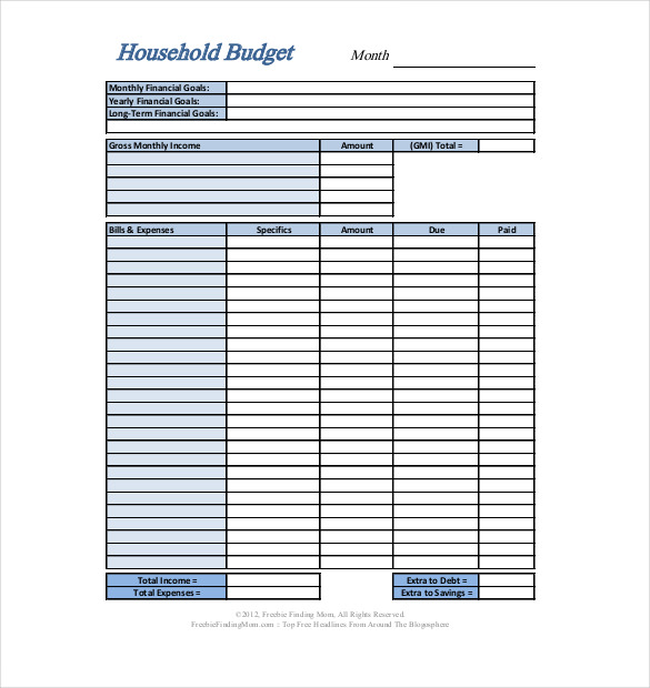 Home Budget Template Format