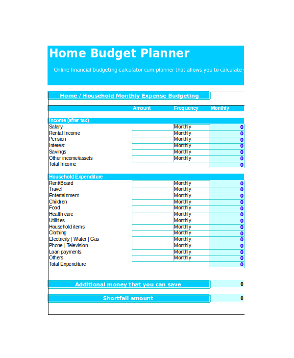 Home Monthly Budget Template