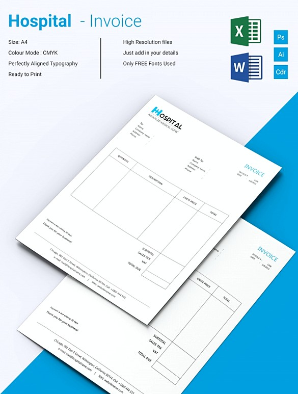 Downloadable Invoice Template – Hospital Invoice Template