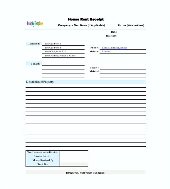 House Rent Receipt templates