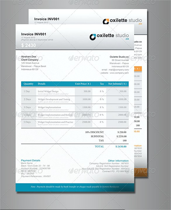 Indesign Company Invoice templates