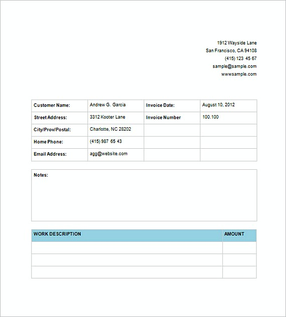 Invoice For Service templates