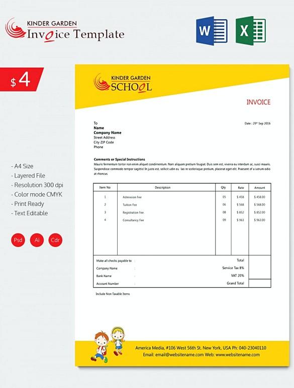 Kindergarten School Invoice templates