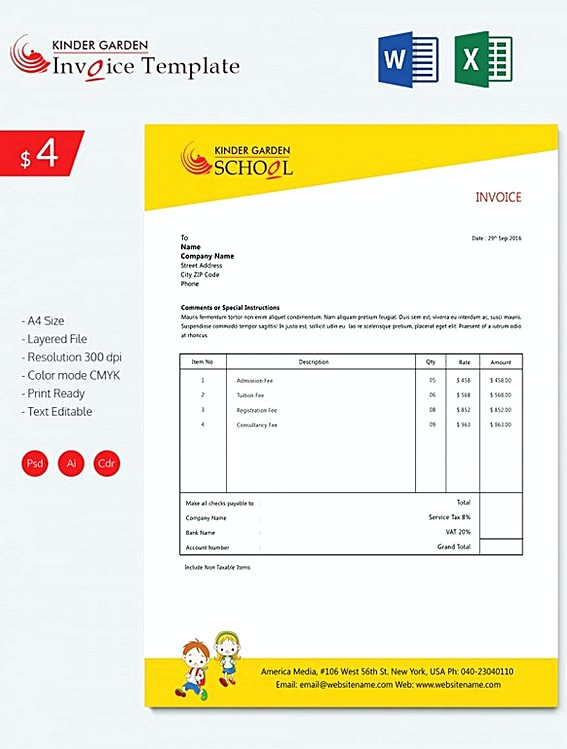 Kindergarten School Invoice templatess