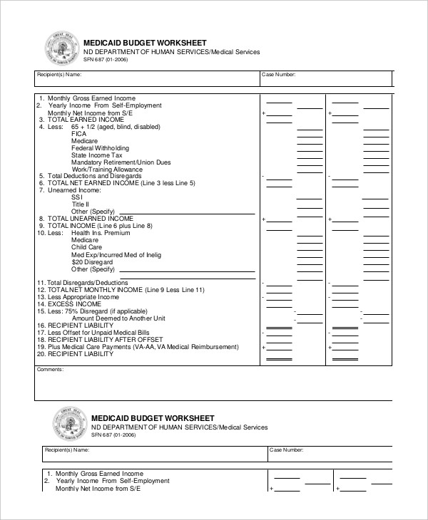 Medicaid Budget Worksheet