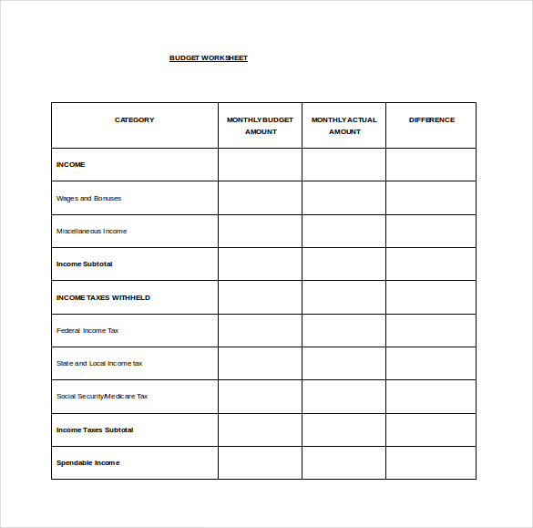 Monthly Budget Spread Word Template Free