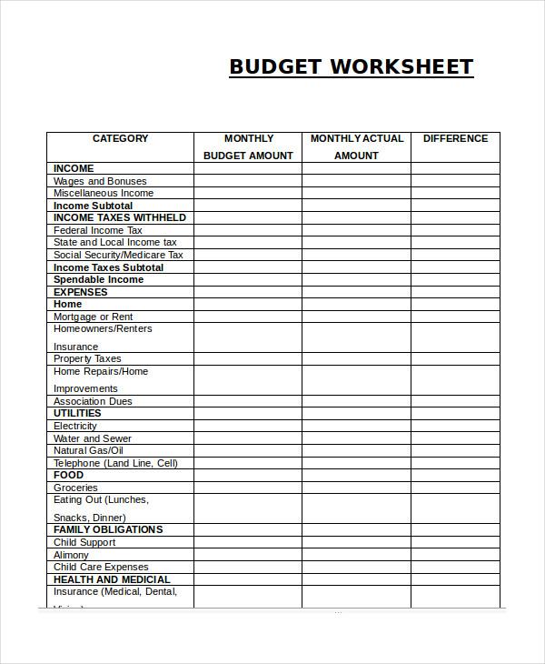 Monthly Budget Worksheet