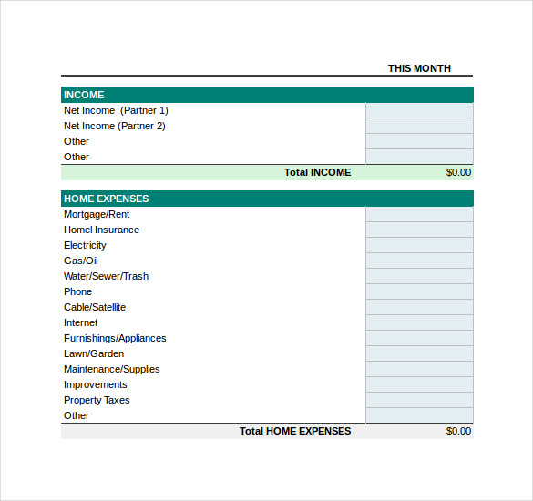 Monthly Buget Template Excel Format