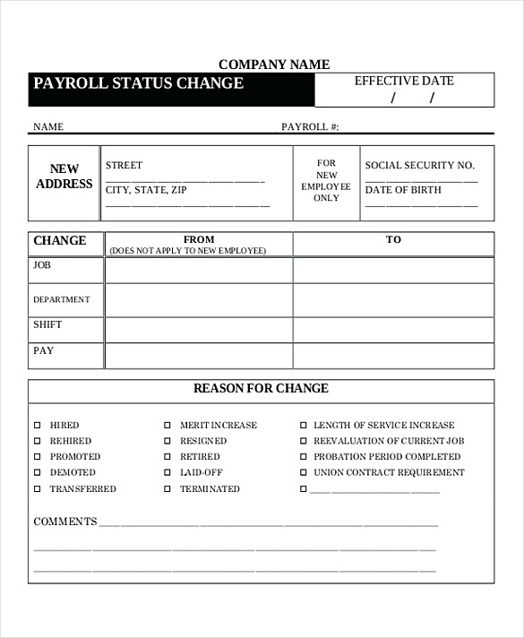 Payroll Change Forms templates