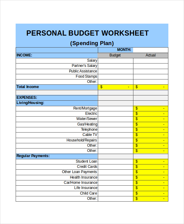 Excel monthly budget template for Monthly living expenses template
