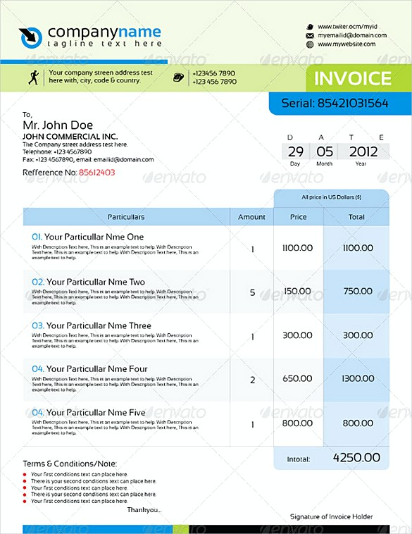 Professional InDesign Invoice templates