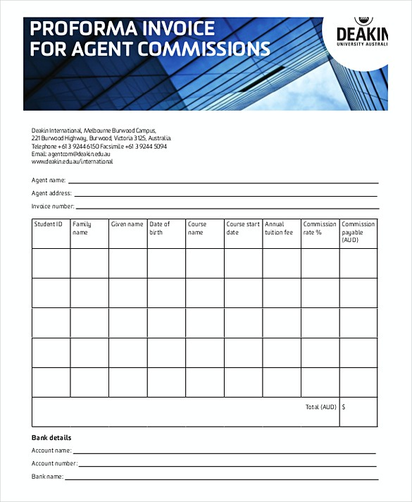 Proforma Invoice Agent Commission