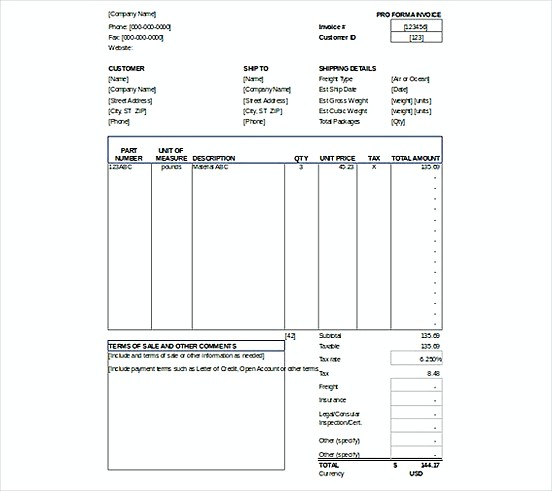 Proforma Invoice templatess XLS Format
