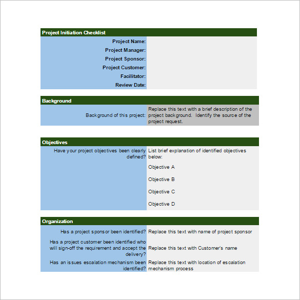 Project Initiation Checklist Spreadsheet Template