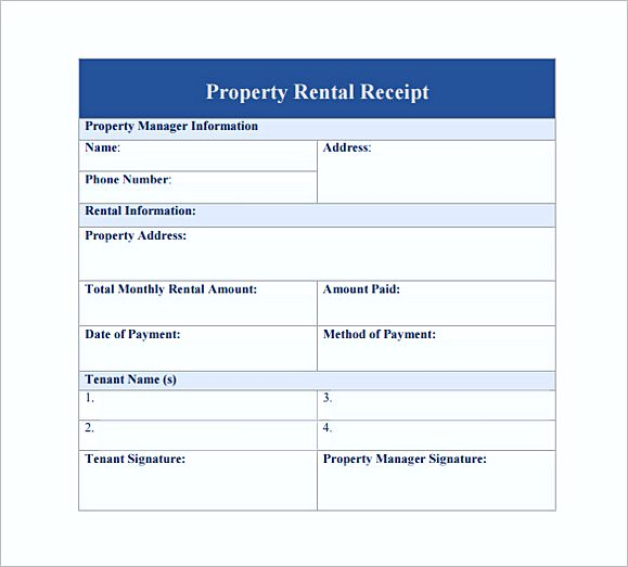 Property rent Receipt PDF Free