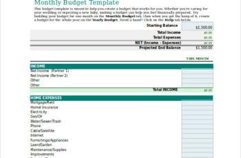 RMI Personal Budget Worksheet Excel Format