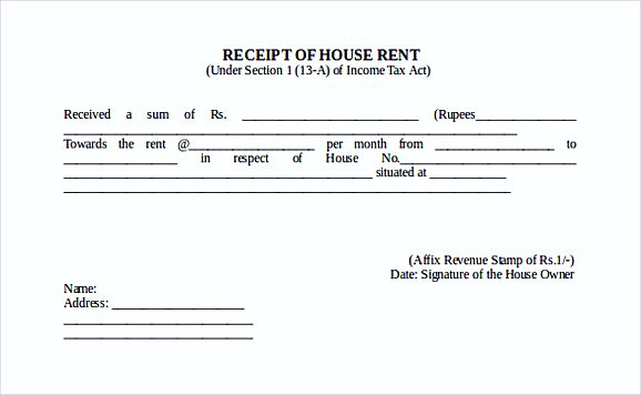 Receipt Of House Rent Free Doc Format templates