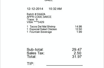 Restaurant Itemized Receipt templates.