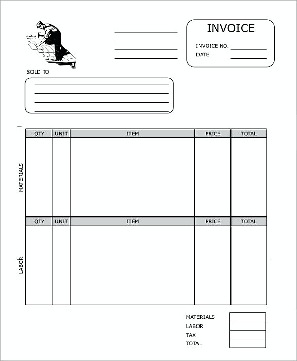 Roofing Contractor Invoice templates