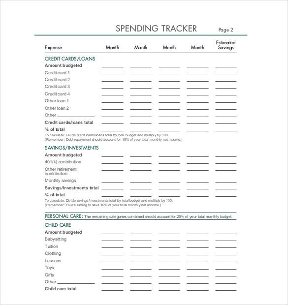 SPENDING TRACKER Format