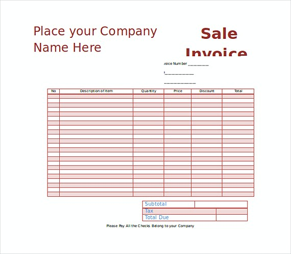 Sales Invoice templates Word Format Free