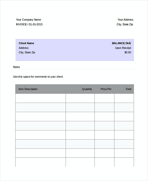 Sample Dj Invoice templates