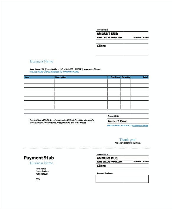 Sample Invoice Indesign templates