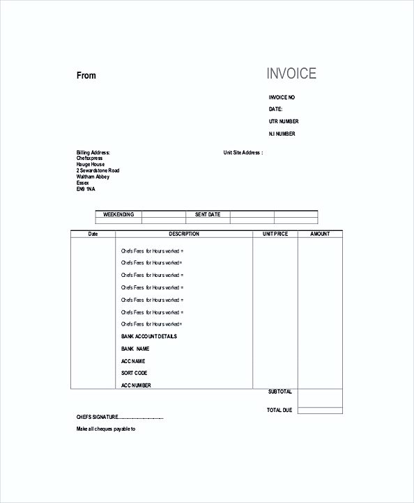 Self Employed Chef Invoice templates