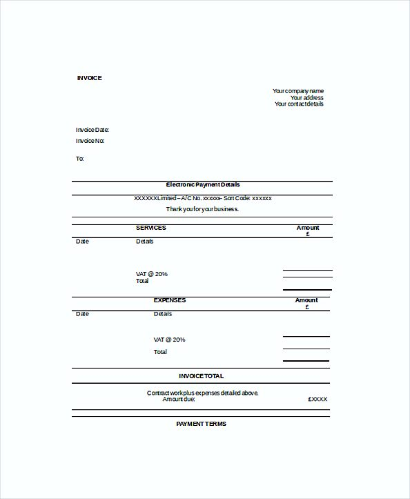 Self Employed Work Invoice templates