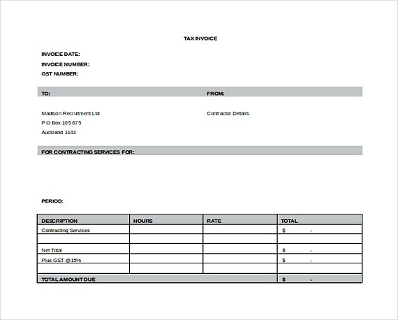 Service Contract Invoice templates Free Word