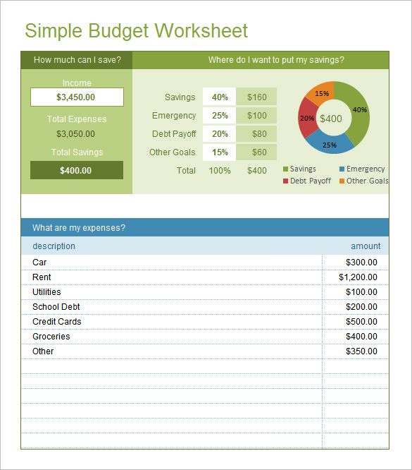 simple budget templates free