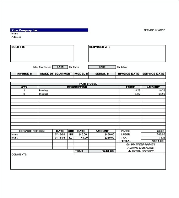Invoice For Service. Simple Invoice Templates Of Service Excel
