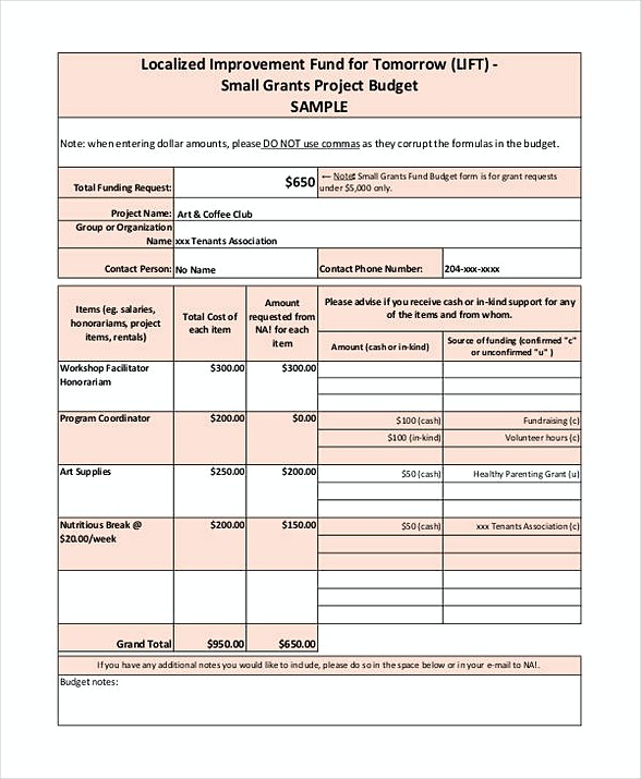 Small Grant Budget Template
