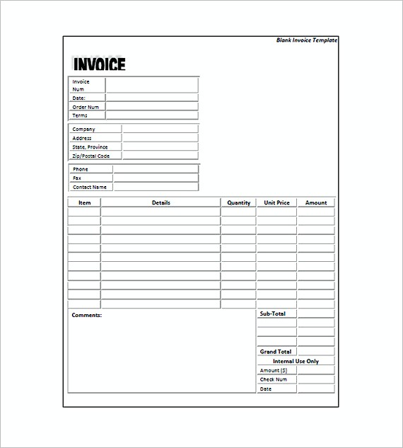 Standard Invoice Form