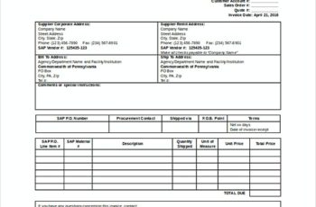 Supplier Invoice templates Free Word Format