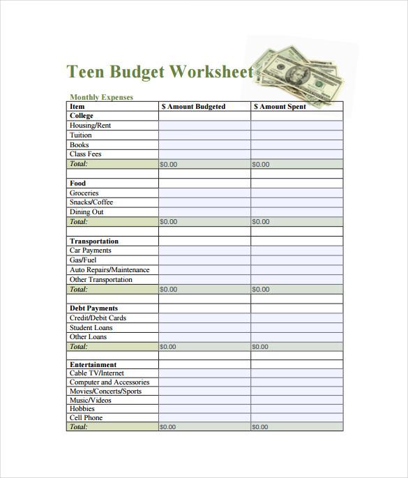 Teen Budget Spreadsheet Free Template