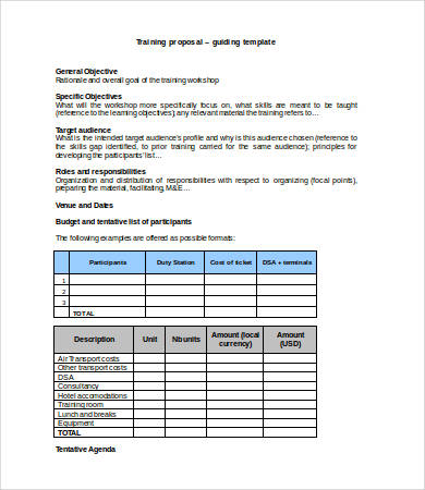 Training Budget Template Word
