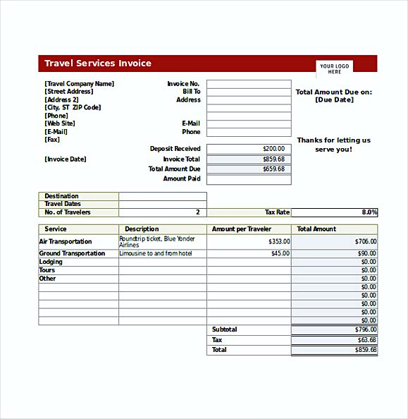 Travel Service Invoice templates