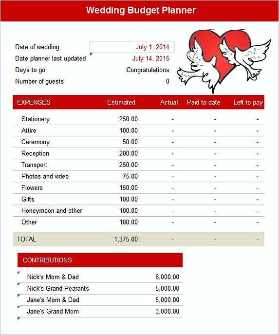 Wedding Budget Planner Free Excel