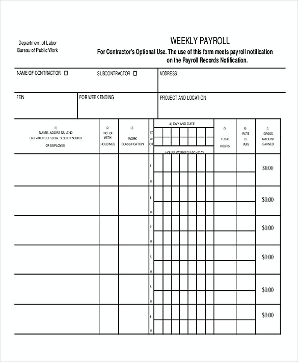 Weekly Payroll templates